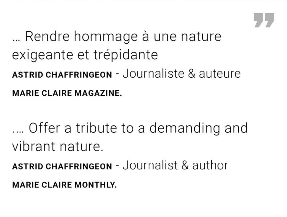 Extract MARIE CLAIRE Belgique Astrid Chaffringeon - Exposition Ode à la pluie à Bruxelles